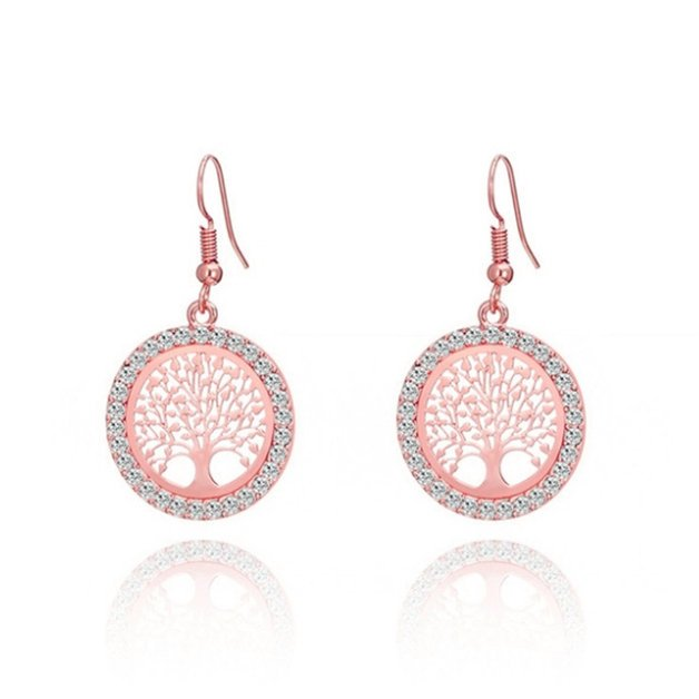 Premium tree of life earrings in rose gold color