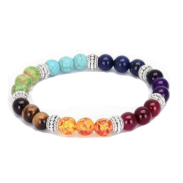 Bracelet man or woman healing of the 7 chakras multicolored