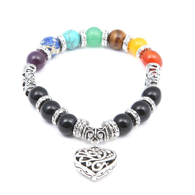 Bracelet man or woman heart healing of the 7 chakras multicolored