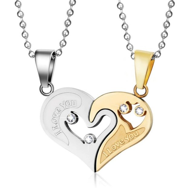 Couple necklace I love you in love heart Silver gold color