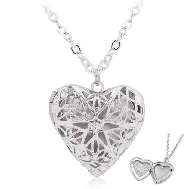 Woman necklace with heart medallion for photo design silver color