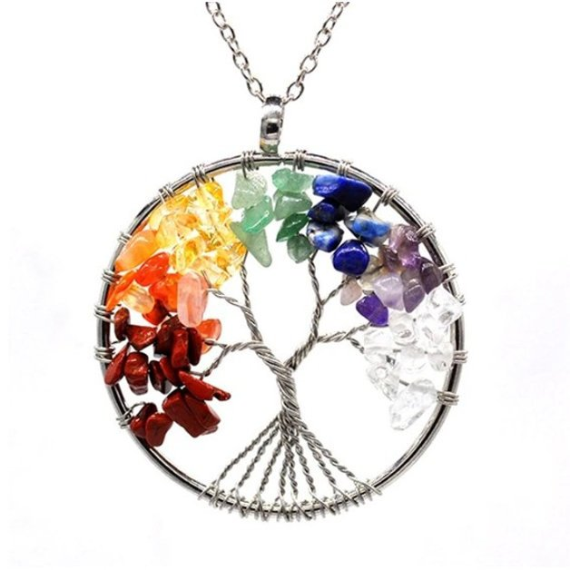 Necklace woman tree of life healing 7 chakra natural stones multicolored